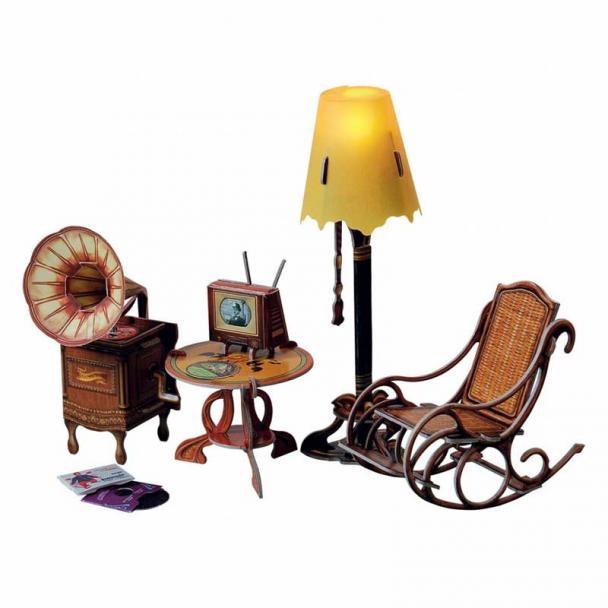 Lámpara de Pie y Muebles de Decoración