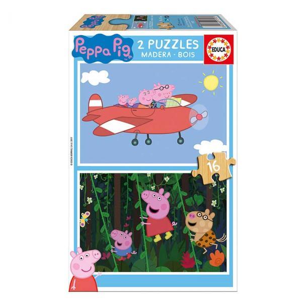 Puzzle 2 x 16 Piezas de Madera Peppa Pig