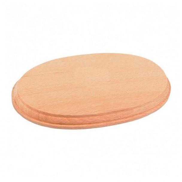 Peana Ovalada de Madera Natural 210 x 130 x 20 mm