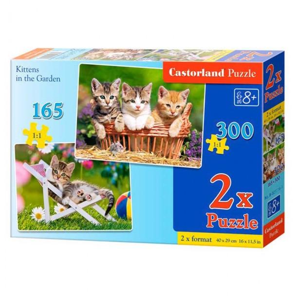 Puzzle 2 en 1 Gatitos en el Jardín 165 + 300 Piezas
